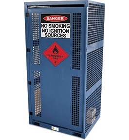 High Pressure Flammable Gas Cylinder Storage Cabinet - 9 bottle