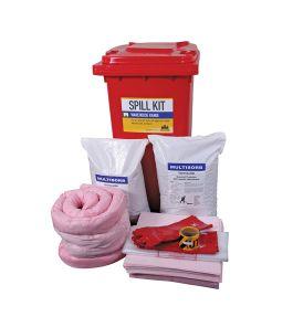 Warehouse spill kit for hazardous spills